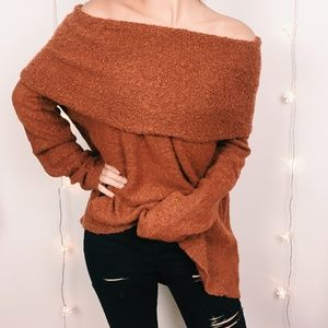 Anthro Angel from the North Rust Wide-Neck Sweater